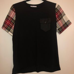 Zara t-shirt with plaid sleeves
